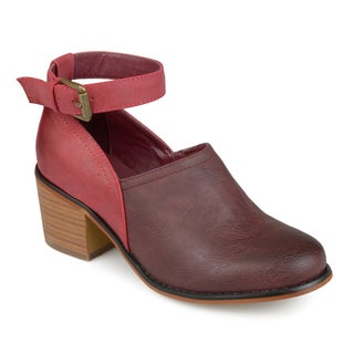Journee Collection Women's 'Zhara' Ankle Strap Wood Stacked Heel Clogs
