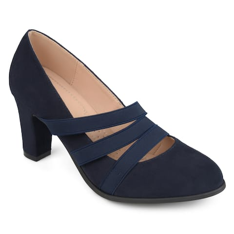 c54a30d2cdf3c Journee Collection Women's 'Loren' Comfort-sole Triple Elastic Strap Chunky  Heels