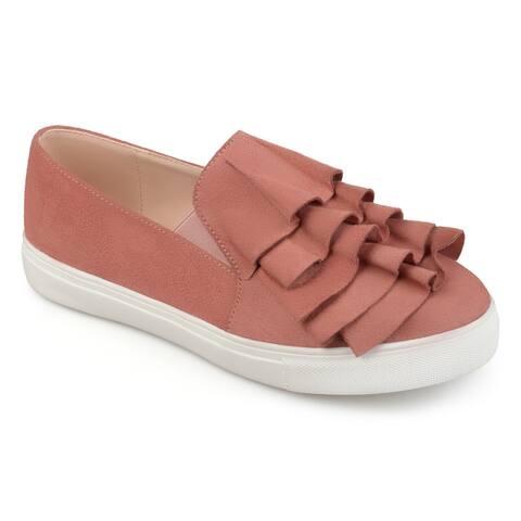 Journee Collection Women's 'Glint' Ruffle Slip-on Sneakers