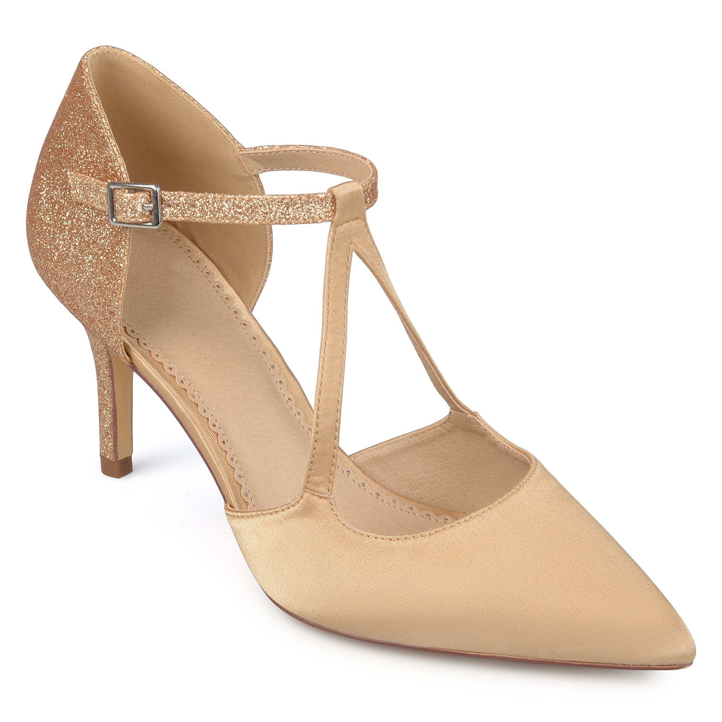 b2e50d225787e Journee Collection Women's 'Elodie' Pointed Toe V-strap Satin Glitter Heels