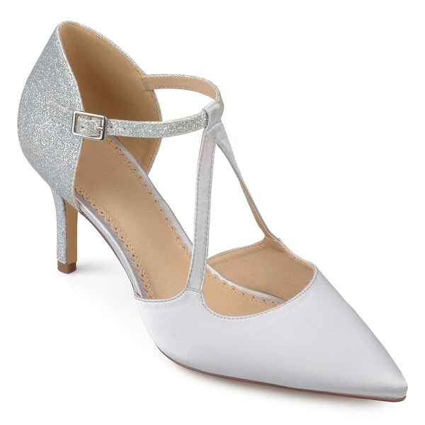 Womens Pointed Toe V-strap Satin Glitter Heels