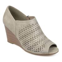 Journee Collection Women's 'Britny' Laser Cut Peep-toe Wedges