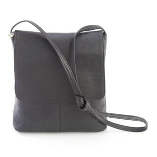 Royce Colombian Leather Flap-over Crossbody Handbag