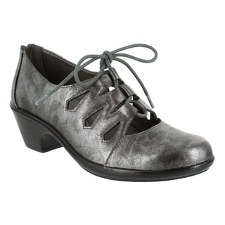 Easy Street Women's Gildy Ghillie Tie Casual (Silver Metallic Wash)