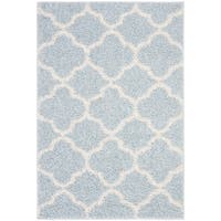 Safavieh New York Shag Geometric Blue/ Ivory Area Rug - 5'1 x 7'6
