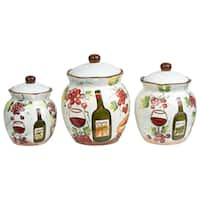 White Ceramic Purple Grape Canisters (Set of 3)