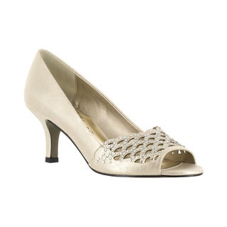 Easy Street Women's Royal Peep Toe Evening Pump (Gold With Easy Flex Dance Sole)