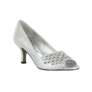 Easy Street Women's Royal Peep Toe Evening Pump (Silver With Easy Flex Dance Sole)
