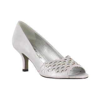 Easy Street Women's Royal Peep Toe Evening Pump (Rose Silver With Easy Flex Dance Sole)