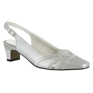 Easy Street Women's Kristen Slingback Pump (Silver Satin/Silver With Easy Flex Dance Sole)