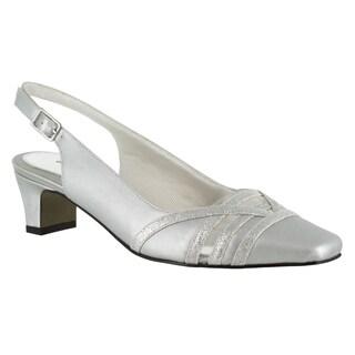 Easy Street Women's Kristen Slingback Pump (Silver Satin/Silver With Easy Flex Dance Sole)