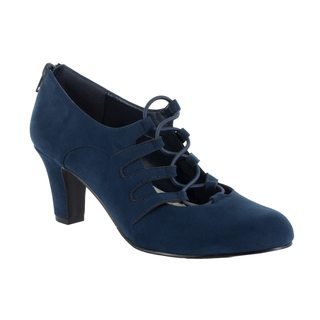 Easy Street Women's Jennifer Ghillie Tie Pump (Navy Super Suede)