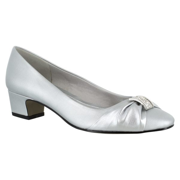 Easy Street Womens Waive Closed Toe Classic Pumps Silver Satin Size 9.0