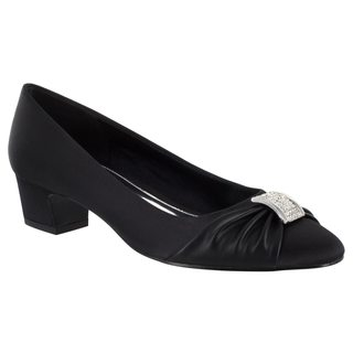 Easy Street Women's Eloise Pump (Black Satin/Black With Leather Sole)