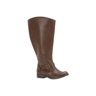 Easy Street Women's Quinn Plus Plus Extra Wide Calf Boot (Brown Burnished)