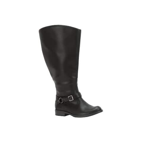 Easy Street Womens Quinn Plus Plus Extra Wide Calf Boot (Black)