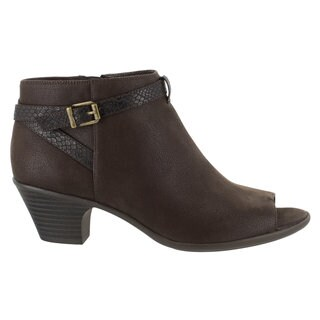 Easy Street Women's Sparrow Peep Toe Bootie (Brown/Snake) (2 options available)