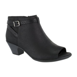 Easy Street Women's Sparrow Peep Toe Bootie (Black/Snake)