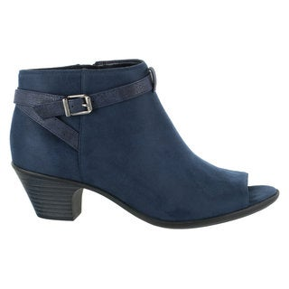 Easy Street Women's Sparrow Peep Toe Bootie (Navy Super Suede)