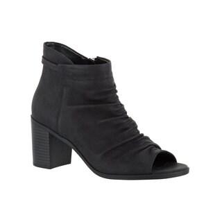 Easy Street Women's Sansa Peep Toe Bootie (Black)