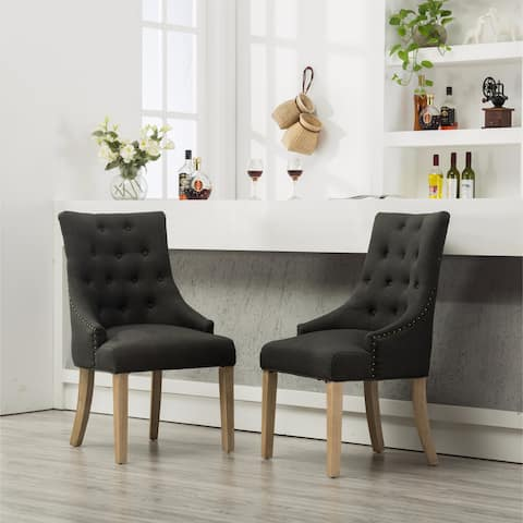 Tufted Solid Wood Wingback Hostess Chairs with Nail Heads, Set of 2