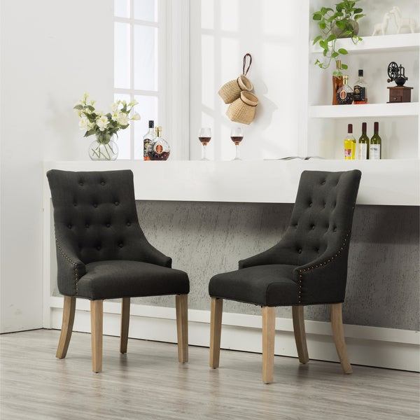Tufted Solid Wood Silver Nailhead Wingback Hostess Chairs (Set of 2). Opens flyout.