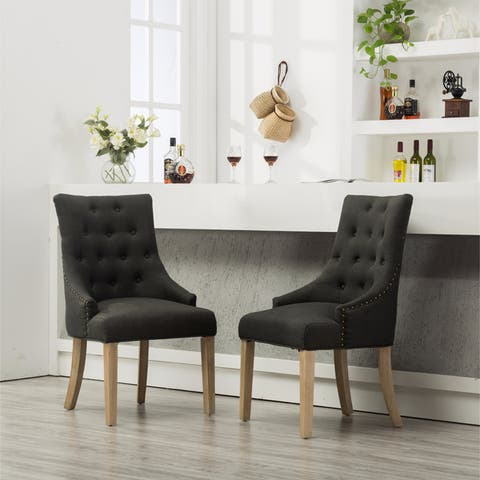 Tufted Solid Wood Silver Nailhead Wingback Hostess Chairs (Set of 2)