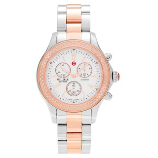Michele Women's MWW17A000017 'Jetway' Two Tone 1/2 CT TDW Diamond Chronograph Link Bracelet Watch