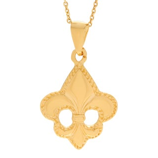 Journee Collection Goldplated Sterling Silver Fleur-de-lis Pendant