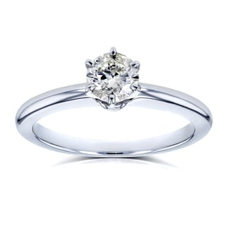 Annello by Kobelli 14k White Gold 1/2ct Solitaire Diamond Petite Engagement Ring (H-I, I1-I2)