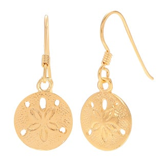Journee Collection Sterling Silver Sand Dollar Seashell Dangle Earrings