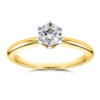 Annello by Kobelli 14k Yellow Gold 1/2ct Solitaire Diamond Petite Engagement Ring (H-I, I1-I2)