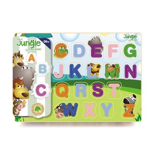 It's A Jungle In My Room 26-piece Jungle Upper Case Wooden Alphabet Puzzle