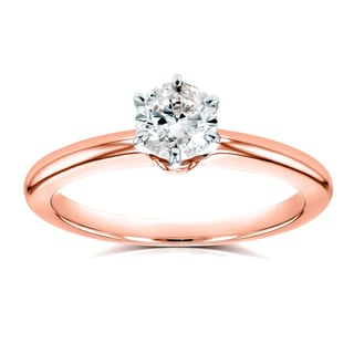 Annello by Kobelli 14k Rose Gold 1/2ct Solitaire Diamond Petite Engagement Ring (H-I, I1-I2)