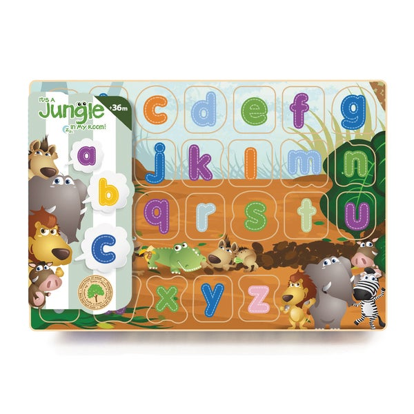 It's A Jungle In My Room 26-piece Jungle Lower Case Wooden Alphabet Puzzle