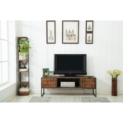 """Haight Natural Wood and Metal 60"""" Media Console - 60 W x 18 D x 21 H - 60 W x 18 D x 21 H"""