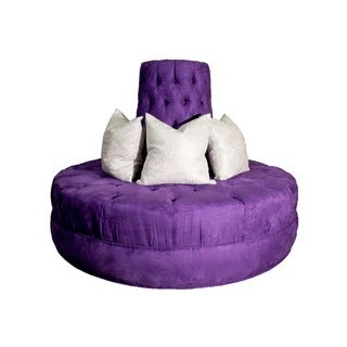 Purple Button Tufted Round Borne Microfiber Settee Sofa