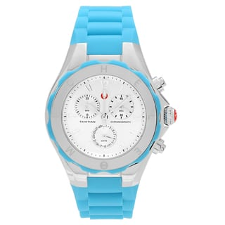 Michele Women's MWW12F000049 'Tahitian Jelly Bean' Stainless Steel Chronograph Blue Strap Watch|https://ak1.ostkcdn.com/images/products/16818006/P23120512.jpg?impolicy=medium