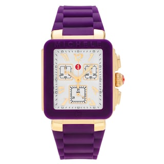 Michele Women's MWW06L000020 'Park Jelly Bean' Goldplated Rectangle Chronograph Purple Strap Watch
