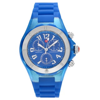 Michele Women's MWW12F000074 'Tahitian Jelly Bean' Blue Stainless Steel Chronograph Strap Watch