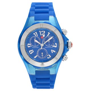 Michele Women's MWW12F000074 'Tahitian Jelly Bean' Blue Stainless Steel Chronograph Strap Watch|https://ak1.ostkcdn.com/images/products/16818017/P23120517.jpg?impolicy=medium