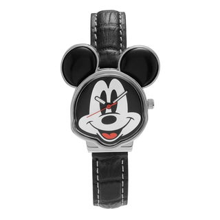 Disney Women's MCK001B Silvertone Mickey Mouse Dial Black Leather Strap Watch
