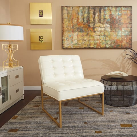 Silver Orchid BerdoniFaux Leather Chair with Gold Coated Frame