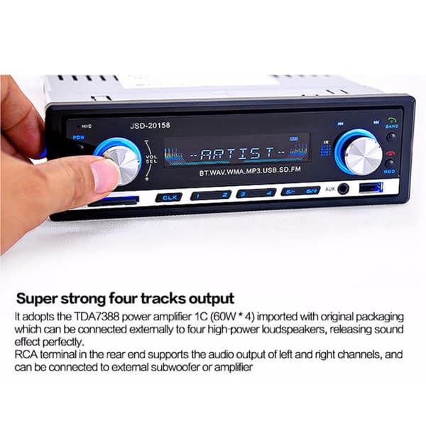 D-5 Car Radio Bluetooth MP3 Single Din Car Audio Stereo FM Radio Large Display 12V with Remote FM USB//SD//Aux