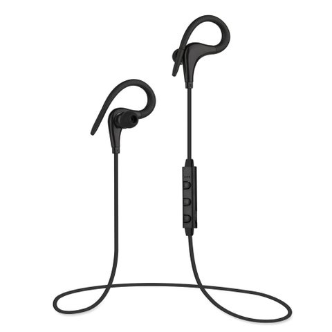 Bass-heavy Bluetooth V4.1 Sports Headphone in-ear Stereo Ear Buds With Soft Ear Hooks Flat Wire Built-in Mic Hands-free Calling