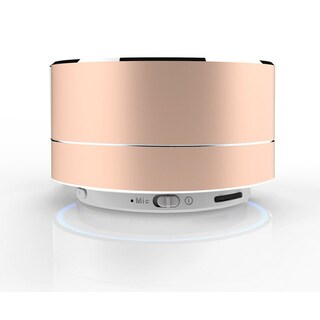 Bluetooth Speaker Portable Wireless Mini Round Box Loudspeaker Metal Steel Stereo HIFI (Option: Gold)