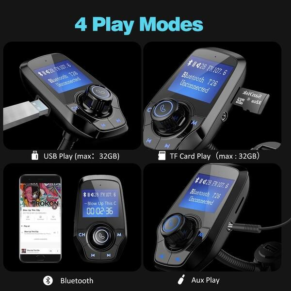 REALMAX/® Bluetooth MP3 Player FM Transmitter Hands-free Car Kit With Dual USB Port Charger for iPhone HTC Samsung Blackberry Sony Nokia LG Black