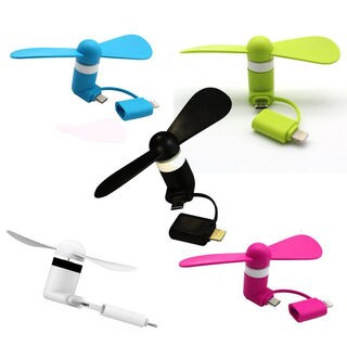 2-in-1 Mini Micro USB Fan with Lightning Connector for iPhone/iPad and Android