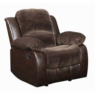 Lyke Home Carter Brown Faux Leather and Suede Recliner