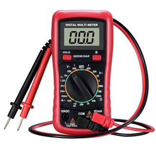 Digital Multimeter with Battery Testing Feature, Amp/ Volt/ Ohm Meter, Manual-ranging Multitester - Red